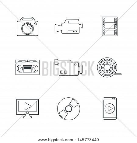 videocamera camera smartphone tv cd and play icon. Video movie cinema and media theme. Black and white design. Vector illustration