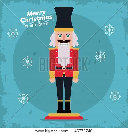 nutcracker cartoon icon. Merry christmas decoration. Colorful design. Vector illustration