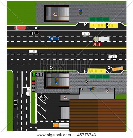 Plot road, highway, street, with the store. Underground crossing. Crossroads. Bus stop. With different cars. Parking cards. Top view of the highway. Vector illustration