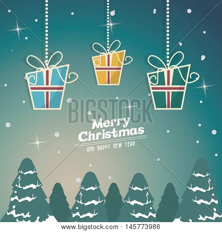 gifts and pinetree icon. Merry christmas decoration. Colorful design. Vector illustration