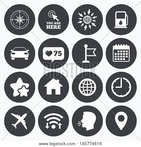 Calendar, wifi and clock symbols. Like counter, stars symbols. Navigation, gps icons. Windrose, compass and map pointer signs. Car, airplane and flag symbols. Talking head, go to web symbols. Vector