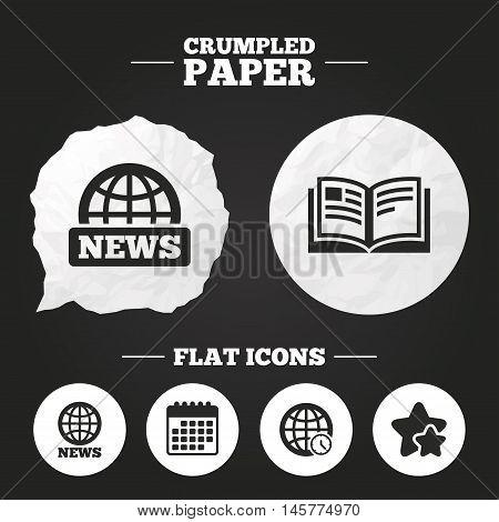 Crumpled paper speech bubble. News icons. World globe symbols. Open book sign. Education literature. Paper button. Vector
