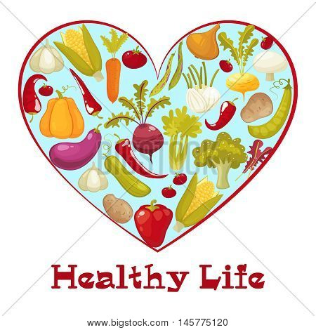Healthy life heart isolated on white background. Healthy vegitables diet advertisement poster with heart shaped assortment of pumpkin , tomato, potato, eggplant, broccoli, carrot. Cartoon style vector illustration.