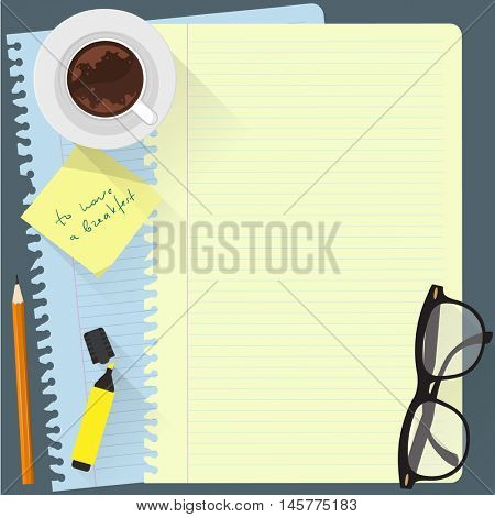 Top view workspace vector template with papers, glasses. remainder pencil and marker.