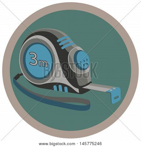 The measuring tool icon. Construction measuring tape. Stock vector illustration.
