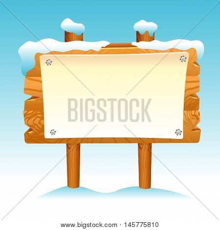 Wooden sign snow winter post icon symbol label