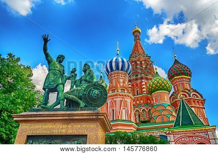 Moscow view - the monument to Minin and Pozharsky in Moscow near St Basils Cathedral on the Red Square in Moscow Russia. Closeup of Moscow landmark. Moscow architecture landscape.