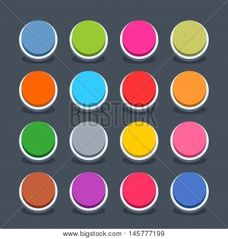 16 3d blank icon in flat style. Set 01 inactive variant . Colored soft circle button with oval shadow on gray background. Vector illustration web internet design element saved in 8 eps