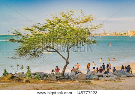 FORTALEZA, BRAZIL, DECEMBER - 2015 - Group of people enjoying a sunny day at one of the beaches of Fortaleza Brazil