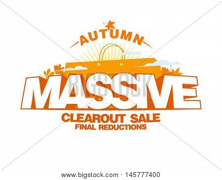 Autumn massive clearout sale design mock up, autumn clearance poster with shopping bag