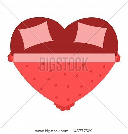 Vector heart bed icon interior home rest. Bed vector sleep furniture icon. Bed vector house information bedtime modern service sleep furniture.