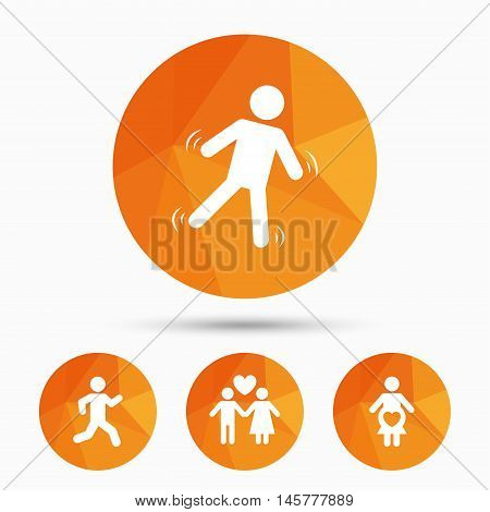 Women pregnancy icon. Human running symbol. Man love Woman or Lovers sign. Triangular low poly buttons with shadow. Vector