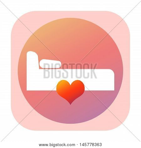 Bed room icon with love heart isolated on white background