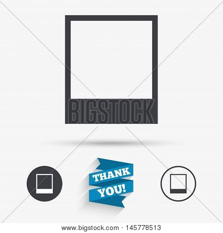 Photo frame template sign icon. Empty photography symbol. Flat icons. Buttons with icons. Thank you ribbon. Vector