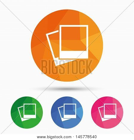 Photo frames template sign icon. Empty photography symbol. Triangular low poly button with flat icon. Vector