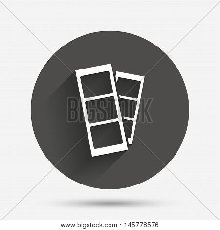 Photo booth strips sign icon. Photo frame template symbol. Circle flat button with shadow. Vector