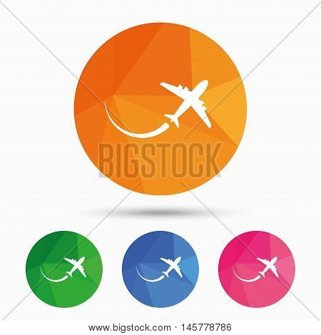 Airplane sign icon. Travel trip symbol. Triangular low poly button with flat icon. Vector
