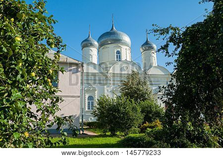 Intercession Cathedral in Zverin Intercession monastery Veliky Novgorod Russia - architecture view in summer sunny day.