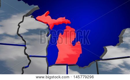 Michigan MI Map Clouds USA United States America Weather Forecast 3d Illustration