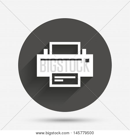 Print sign icon. Printing symbol. Print button. Circle flat button with shadow. Vector
