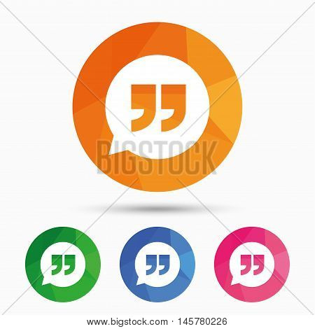 Quote sign icon. Quotation mark in speech bubble symbol. Double quotes. Triangular low poly button with flat icon. Vector