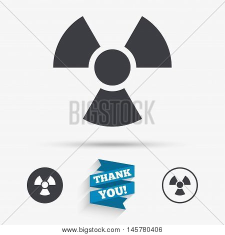 Radiation sign icon. Danger symbol. Flat icons. Buttons with icons. Thank you ribbon. Vector