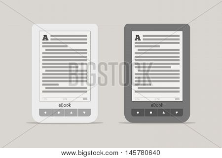 E-book reader or tablet computer mockup. Black and white mobile device set with shadow isolated on background. The portable electronic device for reading books and news