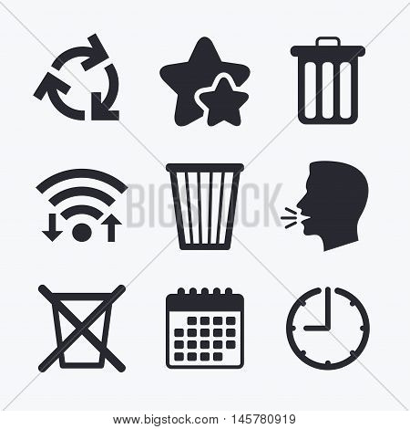 Recycle bin icons. Reuse or reduce symbols. Trash can and recycling signs. Wifi internet, favorite stars, calendar and clock. Talking head. Vector