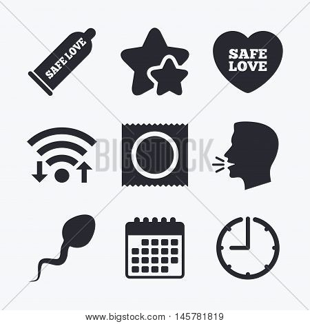 Safe sex love icons. Condom and package symbol. Sperm sign. Fertilization or insemination. Wifi internet, favorite stars, calendar and clock. Talking head. Vector