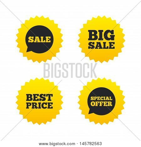 Sale icons. Special offer speech bubbles symbols. Big sale and best price shopping signs. Yellow stars labels with flat icons. Vector