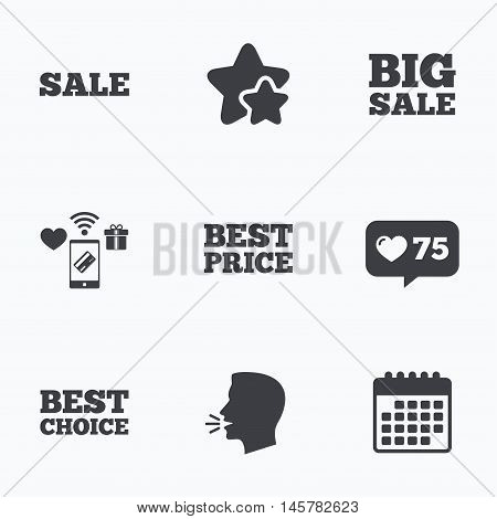 Sale icons. Best choice and price symbols. Big sale shopping sign. Flat talking head, calendar icons. Stars, like counter icons. Vector