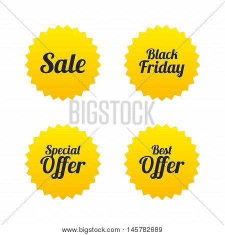Sale icons. Best special offer symbols. Black friday sign. Yellow stars labels with flat icons. Vector