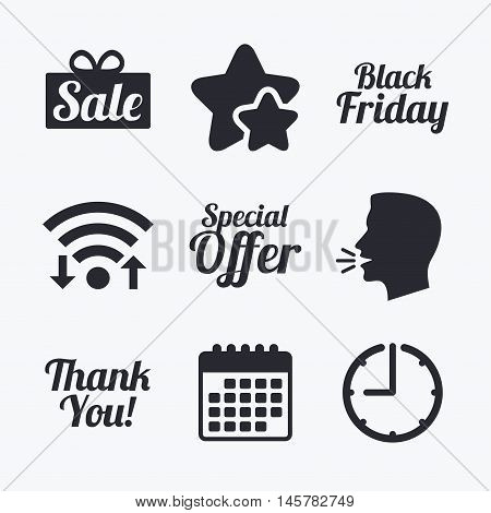 Sale icons. Special offer and thank you symbols. Gift box sign. Wifi internet, favorite stars, calendar and clock. Talking head. Vector
