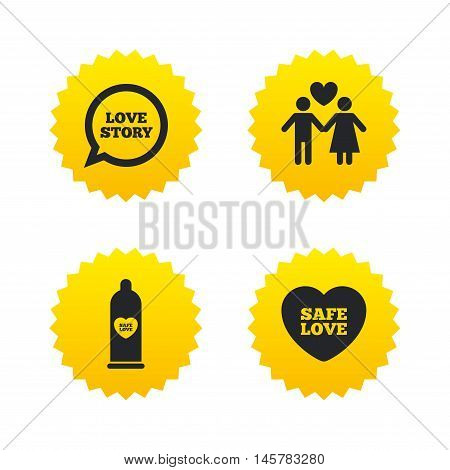 Condom safe sex icons. Lovers couple signs. Male love female. Speech bubble with heart. Yellow stars labels with flat icons. Vector
