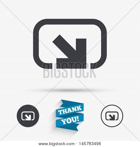Action sign icon. Share symbol. Flat icons. Buttons with icons. Thank you ribbon. Vector