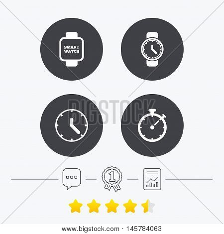 Smart watch icons. Mechanical clock time, Stopwatch timer symbols. Wrist digital watch sign. Chat, award medal and report linear icons. Star vote ranking. Vector