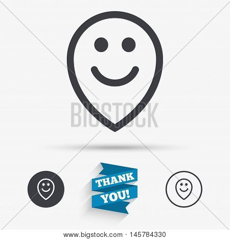Happy face map pointer symbol. Smile icon. Flat icons. Buttons with icons. Thank you ribbon. Vector