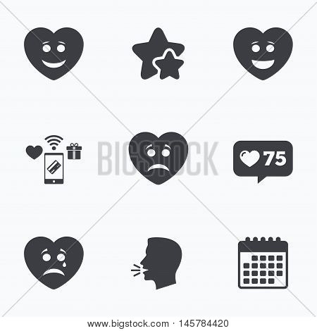Heart smile face icons. Happy, sad, cry signs. Happy smiley chat symbol. Sadness depression and crying signs. Flat talking head, calendar icons. Stars, like counter icons. Vector