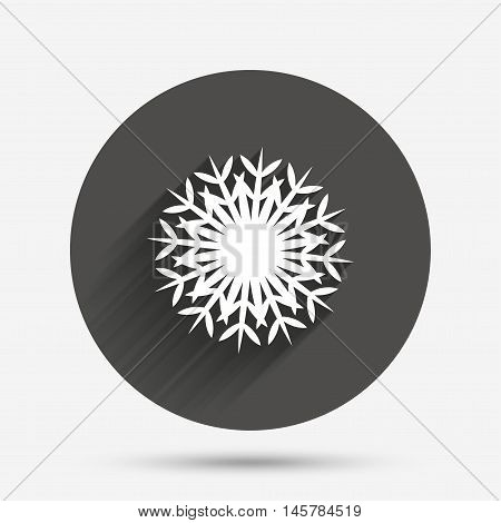 Snowflake artistic sign icon. Christmas and New year winter symbol. Air conditioning symbol. Circle flat button with shadow. Vector