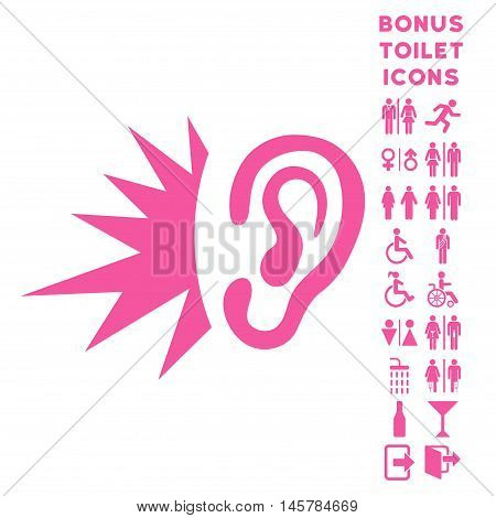 Listen Loud Sound icon and bonus gentleman and lady WC symbols. Vector illustration style is flat iconic symbols, pink color, white background.