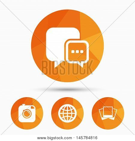 Social media icons. Chat speech bubble and world globe symbols. Hipster photo camera sign. Photo frames. Triangular low poly buttons with shadow. Vector