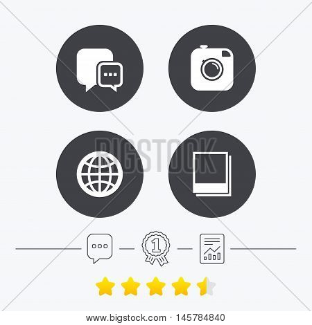 Social media icons. Chat speech bubble and world globe symbols. Hipster photo camera sign. Polaroid photo frames. Chat, award medal and report linear icons. Star vote ranking. Vector