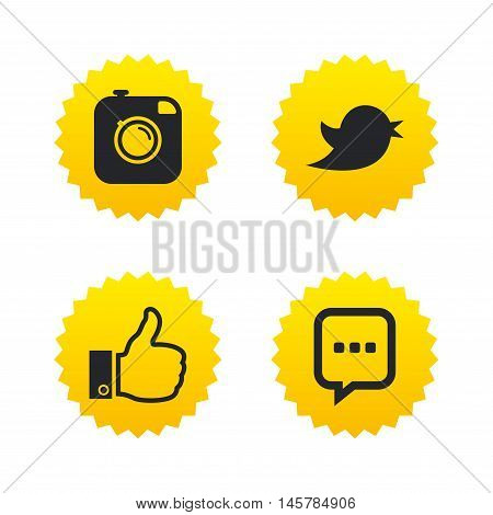 Hipster photo camera icon. Like and Chat speech bubble sign. Hand thumb up. Bird symbol. Yellow stars labels with flat icons. Vector