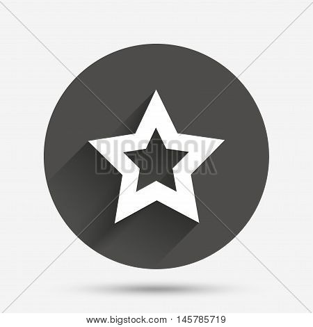 Star sign icon. Favorite button. Navigation symbol. Circle flat button with shadow. Vector