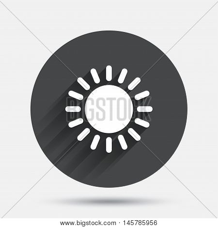 Sun icon. Sunlight summer symbol. Hot weather sign. Circle flat button with shadow. Vector