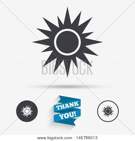 Sun sign icon. Solarium symbol. Heat button. Flat icons. Buttons with icons. Thank you ribbon. Vector