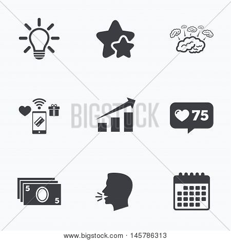 Chart with arrow, brainstorm icons. Cash money and lamp idea signs. Scheme and Diagram symbol. Flat talking head, calendar icons. Stars, like counter icons. Vector