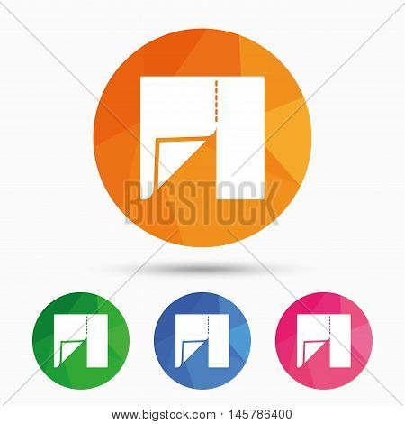 Textile cloth piece sign icon. Tailor symbol. Triangular low poly button with flat icon. Vector
