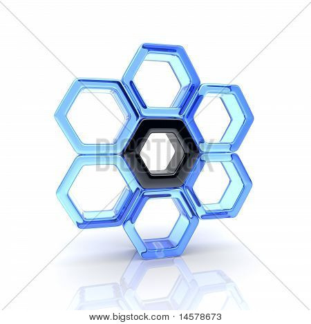 Glass Hexagons And Black