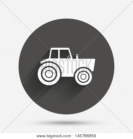 Tractor sign icon. Agricultural industry symbol. Circle flat button with shadow. Vector
